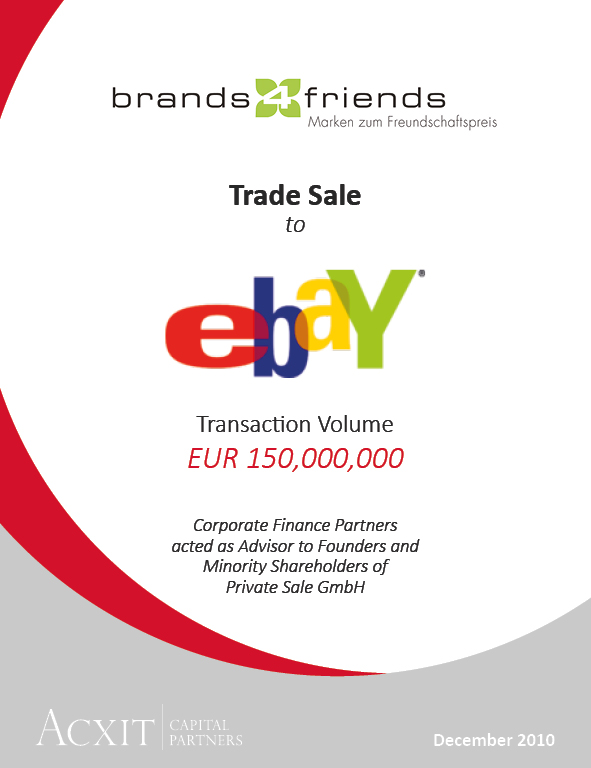 ebay to acquire brands4friends germany 39 s largest online fashion shopping club acxit capital. Black Bedroom Furniture Sets. Home Design Ideas