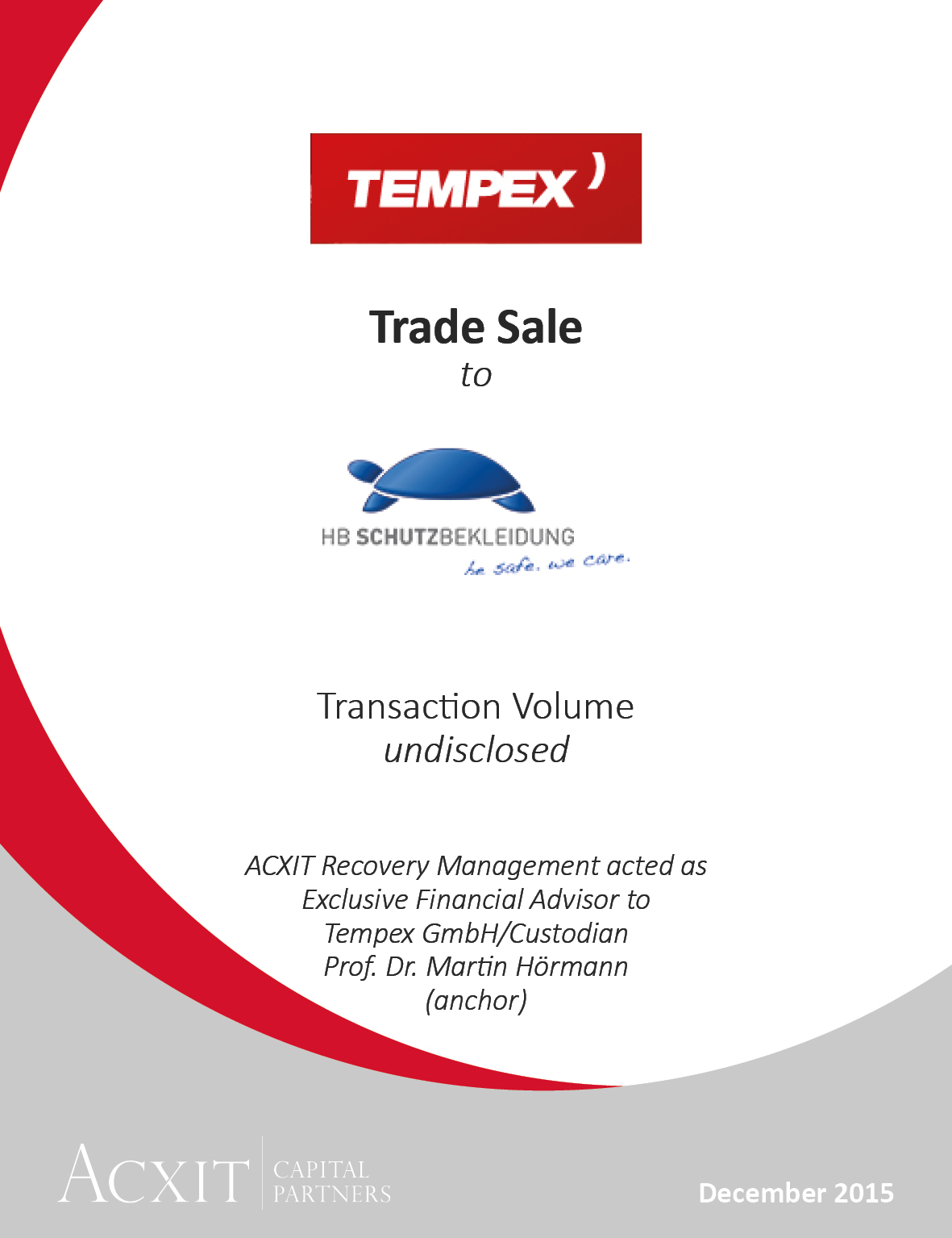 HB Schutzbekleidung acquires main product segments and registered trademarks of Tempex