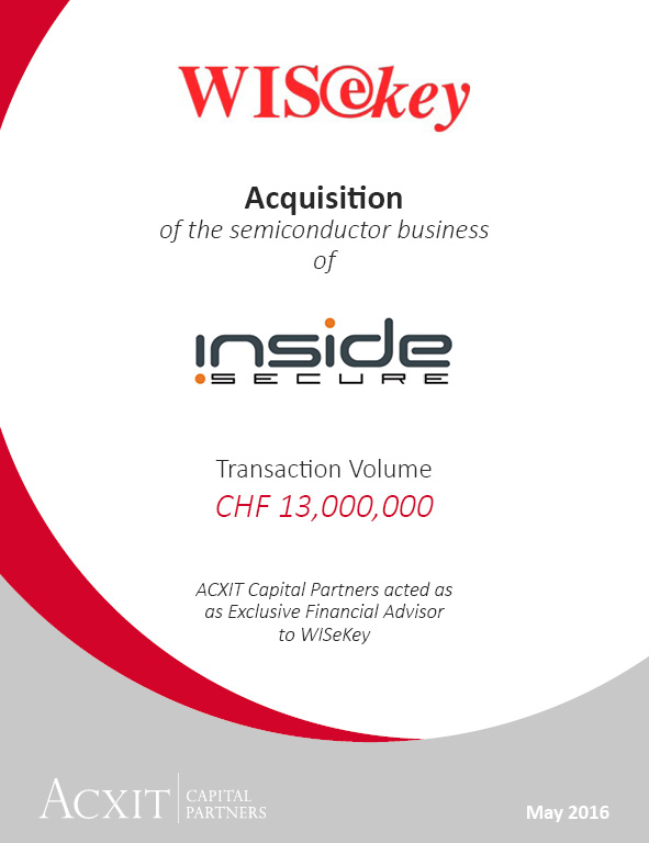 WISeKey acquired the semiconductor business of INSIDE Secure