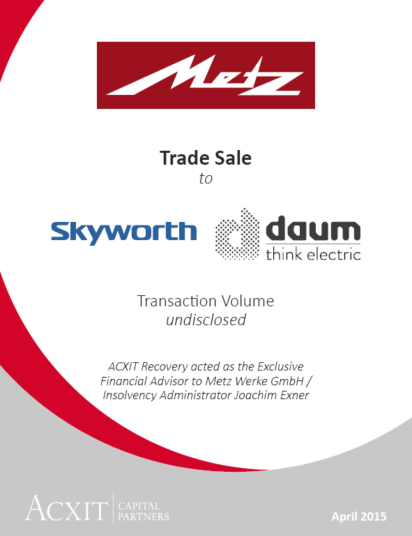 Trade Sale of METZ to SKYWORTH & DAUM