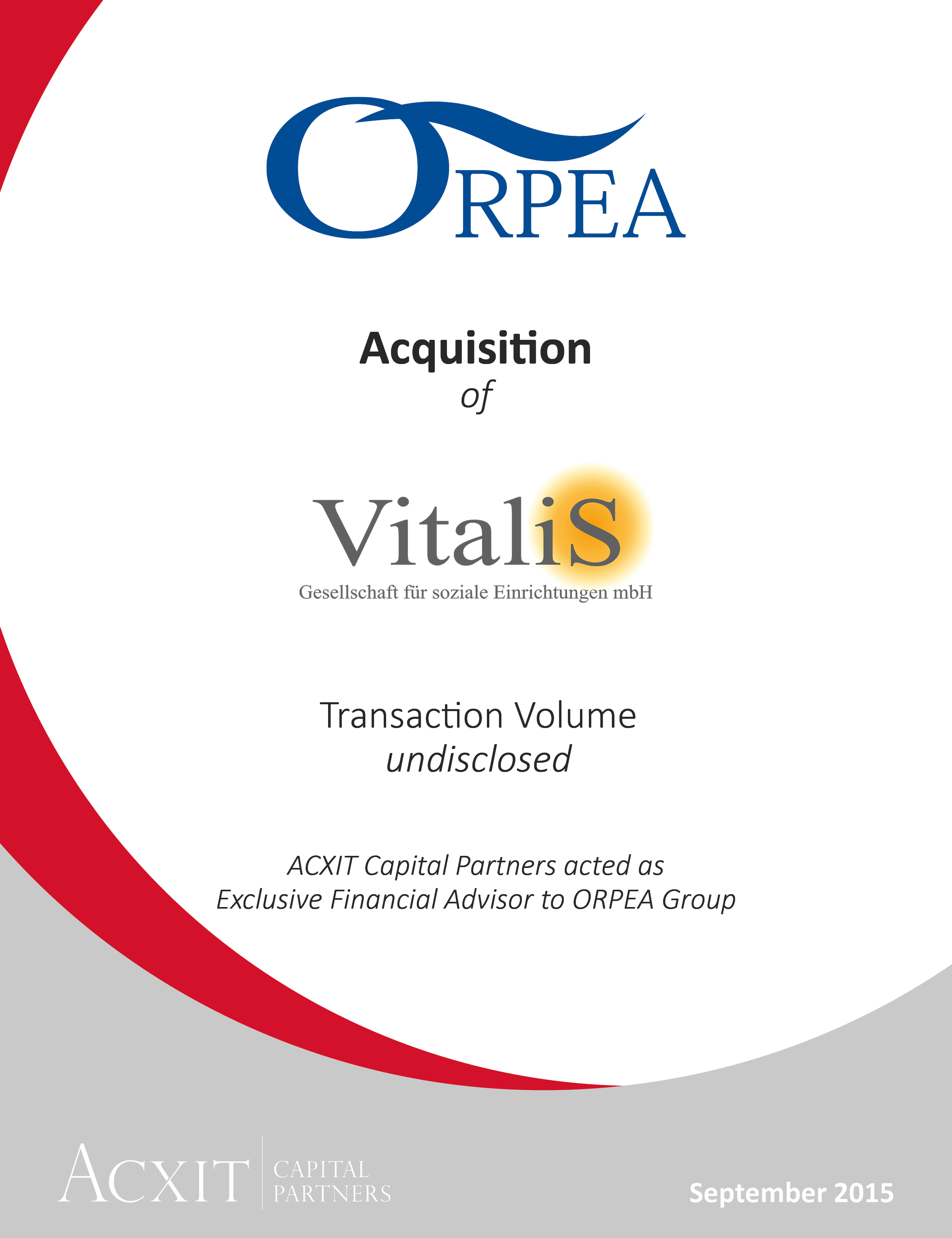 Acquisition of Vitalis Group by ORPEA