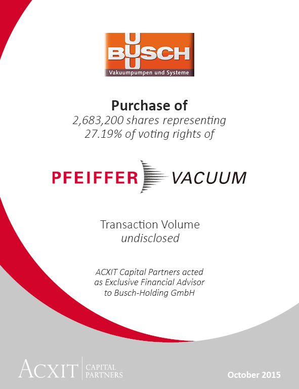 Busch-Holding acquired a 27.19% stake in Pfeiffer Vacuum