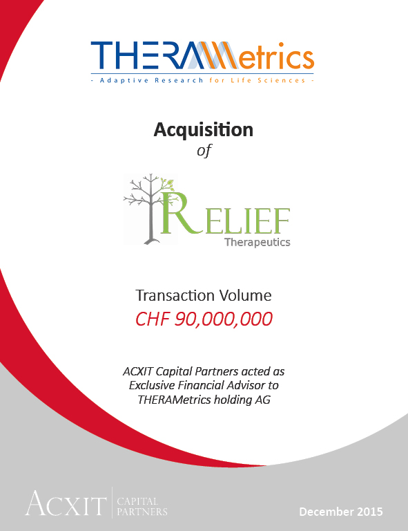 THERAMetrics and RELIEF THERAPEUTICS combine their two companies