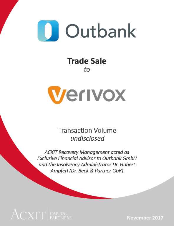 OUTBANK SUCCESSFULLY SOLD TO PROSIEBENSAT.1′ SUBSIDIARY VERIVOX