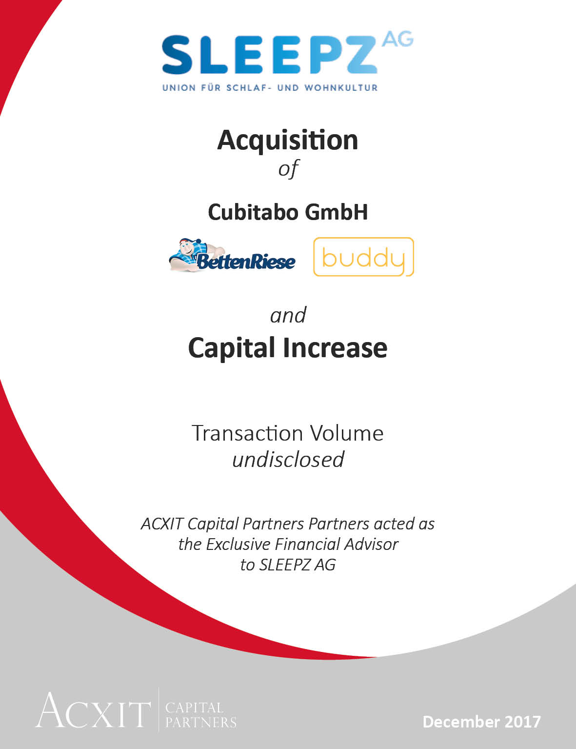 Acquisition of Cubitabo by SLEEPZ and Capital Increase