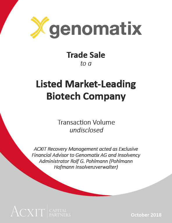 Munich-based biotech company Genomatix AG sold to market-leading listed corporation