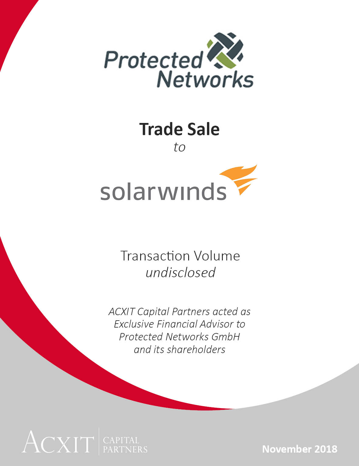 Trade Sale of Protected Networks to Solarwinds