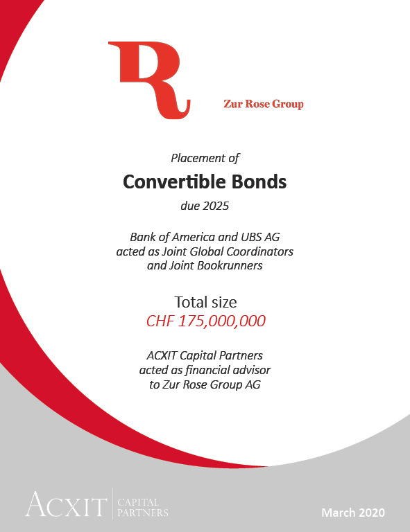 Zur Rose Group completed placement of CHF 175m convertible bonds