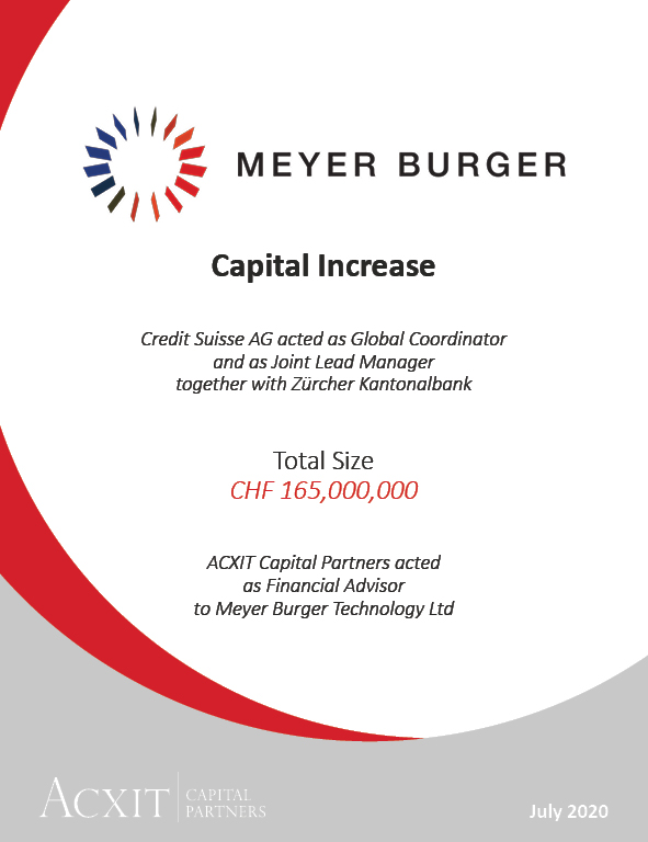 Meyer Burger Technology completes CHF 165m capital increase