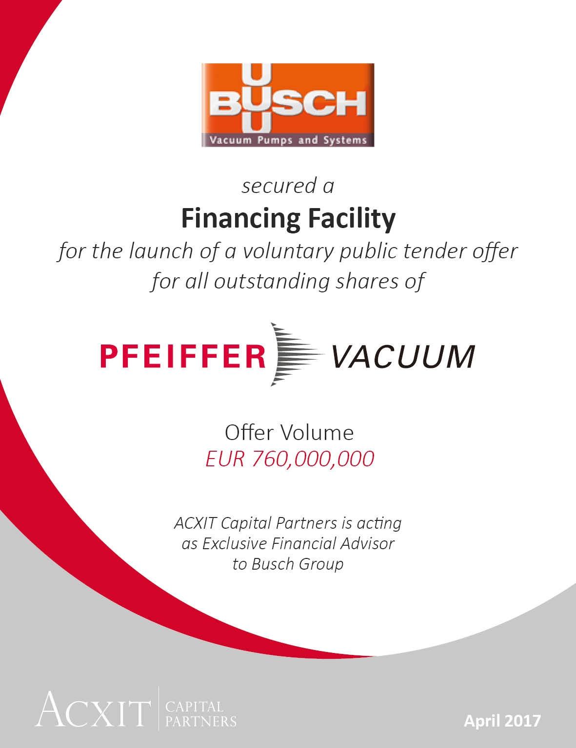 Busch group receives Financing Facility for the Acquisition of Pfeiffer Vacuum Technology AG