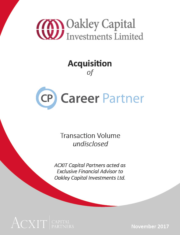 Acquisition of Career Partner Group by Oakley Capital Investments Limited